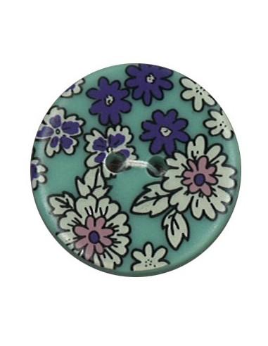 Bouton Polyester 25 mm imprimé fleuri motif Mia coloris Canard
