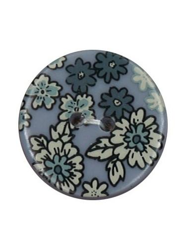 Bouton Polyester 25 mm imprimé fleuri motif Mia coloris Bleu layette