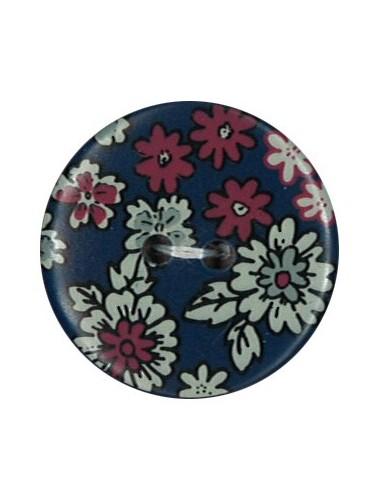 Bouton Polyester 25 mm imprimé fleuri motif Mia coloris Marine