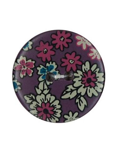Bouton Polyester 25 mm imprimé fleuri motif Mia coloris Orchidée