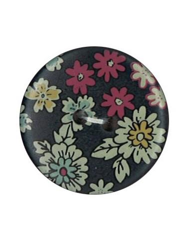 Bouton Polyester 25 mm imprimé fleuri motif Mia coloris Noir