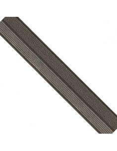 Bordure élastique 17mm kaki rayé lurex argent