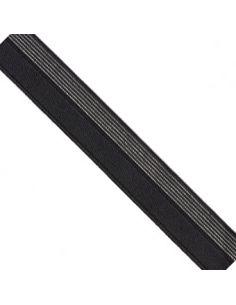 Bordure élastique 17mm noir rayé lurex argent