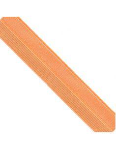 Bordure élastique 17mm orange rayé lurex doré