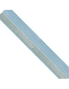 Bordure élastique 17mm bleu rayé lurex doré