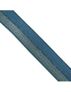 Bordure élastique 17mm jeans rayé lurex doré