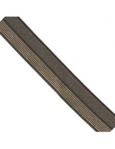 Bordure élastique 17mm kaki rayé lurex doré