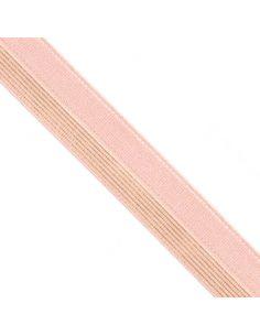 Bordure élastique 17mm rose rayé lurex doré
