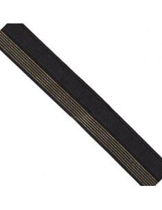 Bordure élastique 17mm noir rayé lurex doré