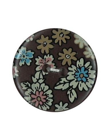 Bouton Polyester 25 mm imprimé fleuri motif Mia coloris Café