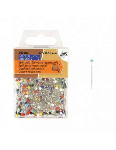 Epingles Tête Perles multicolores - Boîte de 200 pièces