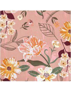 Tissu en coton mauve à fleurs, touche de fluo