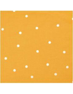 Tissu en coton moutarde pois or