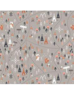Tissu en coton Under the stars Jeu de piste