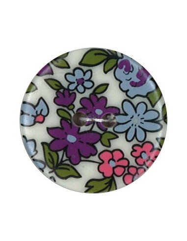 Bouton Polyester 25 mm imprimé fleuri motif Nina coloris Mauve