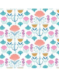 Tissu en coton Into the blue Seashells