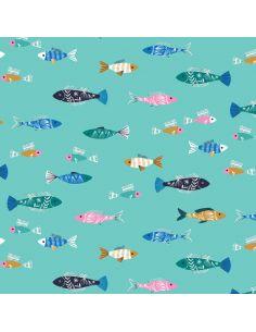 Tissu en coton Into the blue Fishes