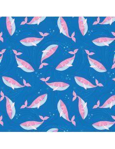 Tissu en coton Into the blue Whales