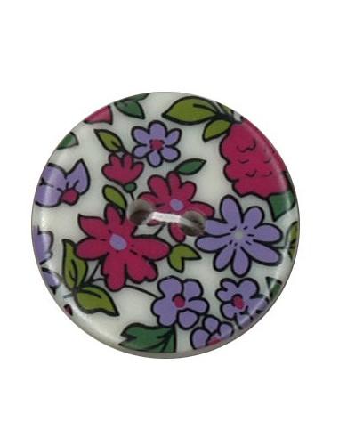 Bouton Polyester 25 mm imprimé fleuri motif Nina coloris Framboise