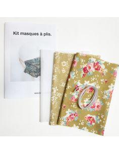 Kit pour réaliser 2 masques à plis olive fleuri