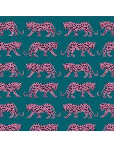 Tissu en coton Night jungle léopard
