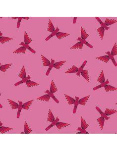 Tissu en coton Night jungle oiseaux exotiques