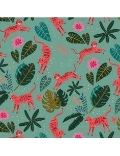 Tissu en coton Night jungle tigres