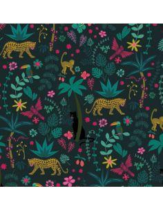 Tissu en coton Night jungle décor