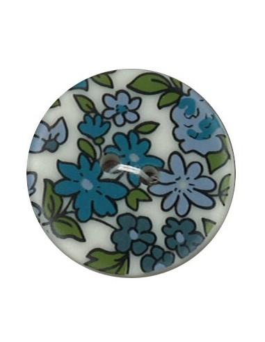 Bouton Polyester 25 mm imprimé fleuri motif Nina coloris Bleu