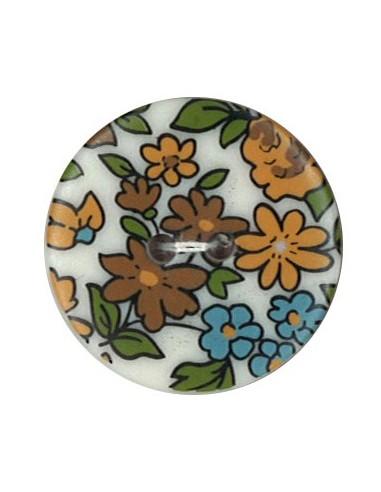 Bouton Polyester 25 mm imprimé fleuri motif Nina coloris Café