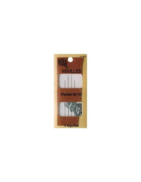 Pochette 4 Aiguilles perles Tailles 10-13 avec un enfile aiguille