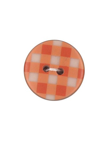 Bouton Imprimé 18mm Vichy Mandarine
