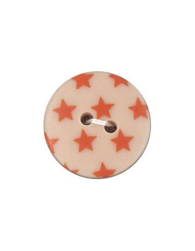Bouton Imprimé 18mm Etoiles Mandarine
