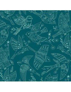 Tissu en coton Aviary Blue birds