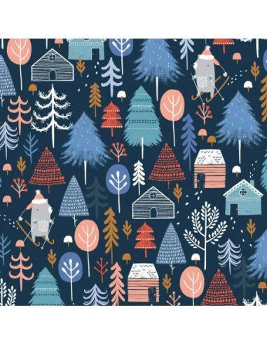 Tissu en coton Snow much fun Forest in blue