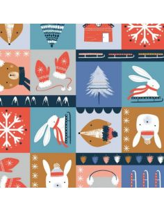 Tissu en coton Snow much fun Square
