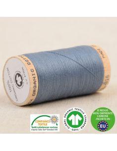 Bobine de 275m de fil à coudre 100% Coton bio Bleu minéral
