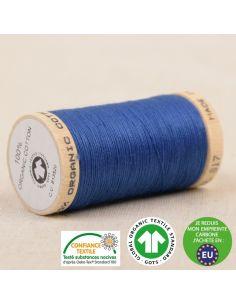 Bobine de 275m de fil à coudre 100% Coton bio Bleu france