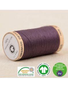 Bobine de 275m de fil à coudre 100% Coton bio Aubergine
