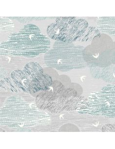 Tissu en coton Elements ciel gris