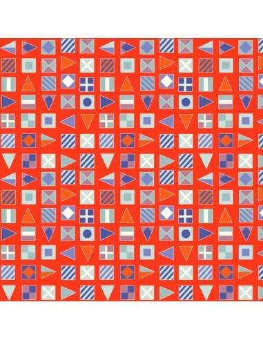 Tissu en coton Nautical - Flags Rouge