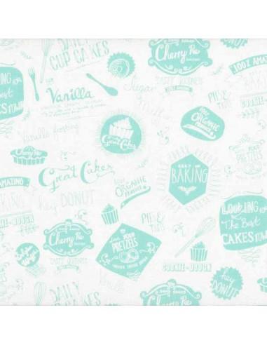 Tissu en coton Retro Bake - Mot turquoise