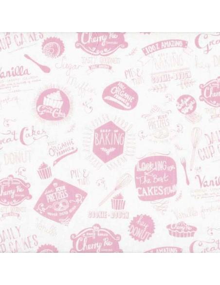 Tissu en coton Retro Bake - Mot rose