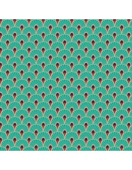 Tissu en microfibre Art déco Eventails turquoise
