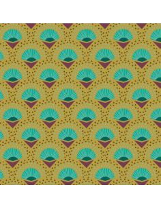 Tissu en microfibre Art déco Palmes kaki