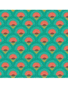 Tissu en microfibre Art déco Palmes turquoise