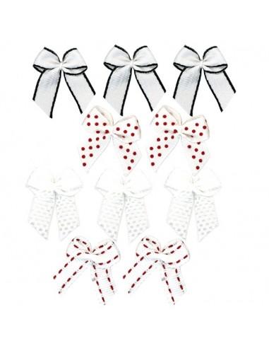 Lot de 10 petits noeuds assortis - Blanc