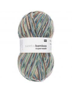 Pelote Rico socks superba bamboo 4 fils bleu-baie mix