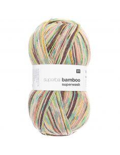 Pelote Rico socks superba bamboo 4 fils vert mix