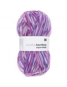 Pelote Rico socks superba bamboo 4 fils lilas-bleu mix